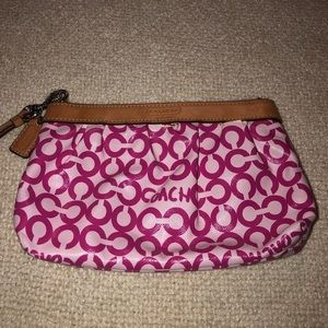 Pink COACH Wristlet with Authentic Leather